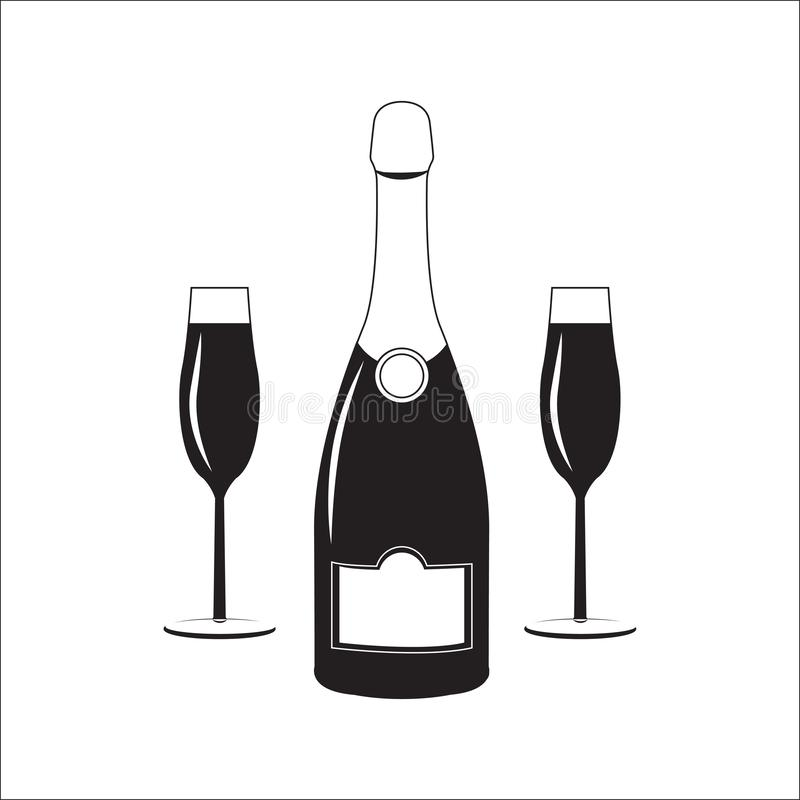 Bottiglia del vino del champagne con due vetri Illustrazione lineare royalty illustrazione gratis