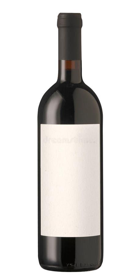 Bottiglia del vino rosso con il contrassegno in bianco. fotografia stock libera da diritti