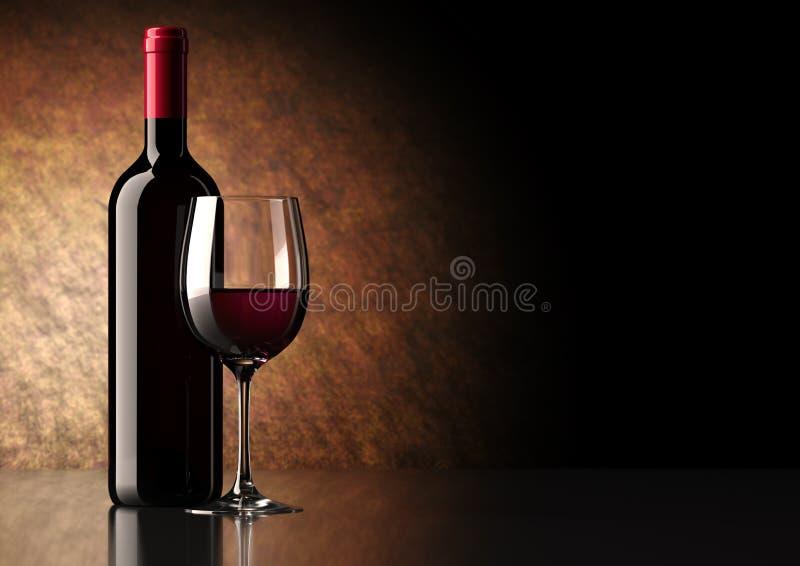 Bottiglia del vino rosso con vetro fotografia stock libera da diritti