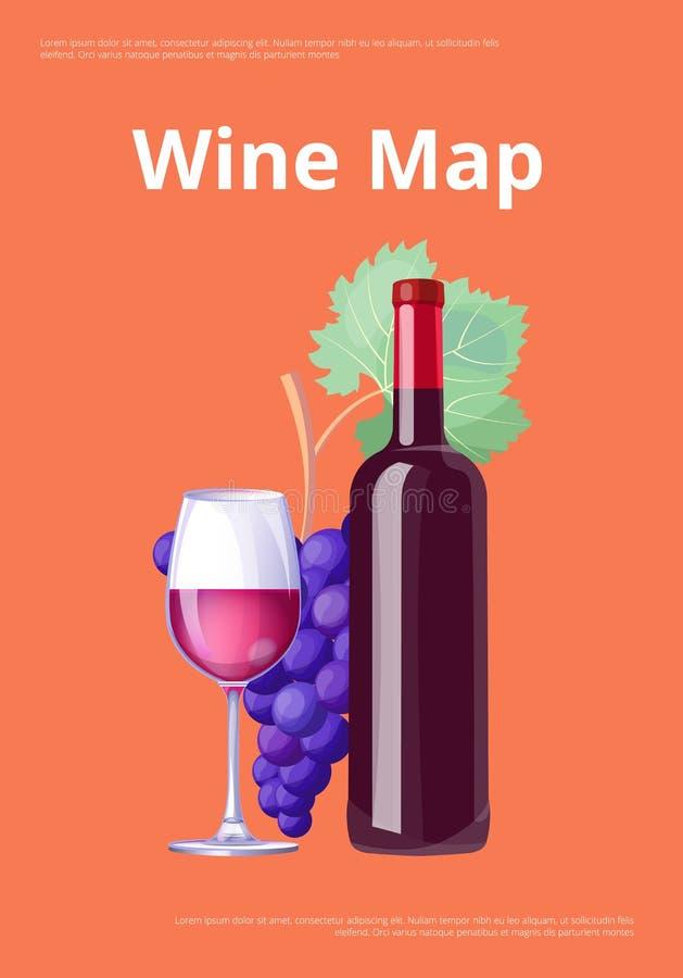 Bottiglia del vino rosso del manifesto della mappa del vino e Merlot di vetro royalty illustrazione gratis