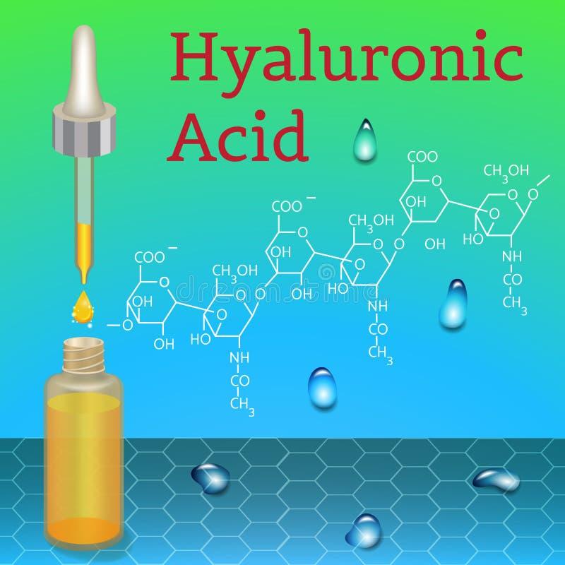 Bottiglia dell'acido ialuronico Formula chimica illustrazione vettoriale