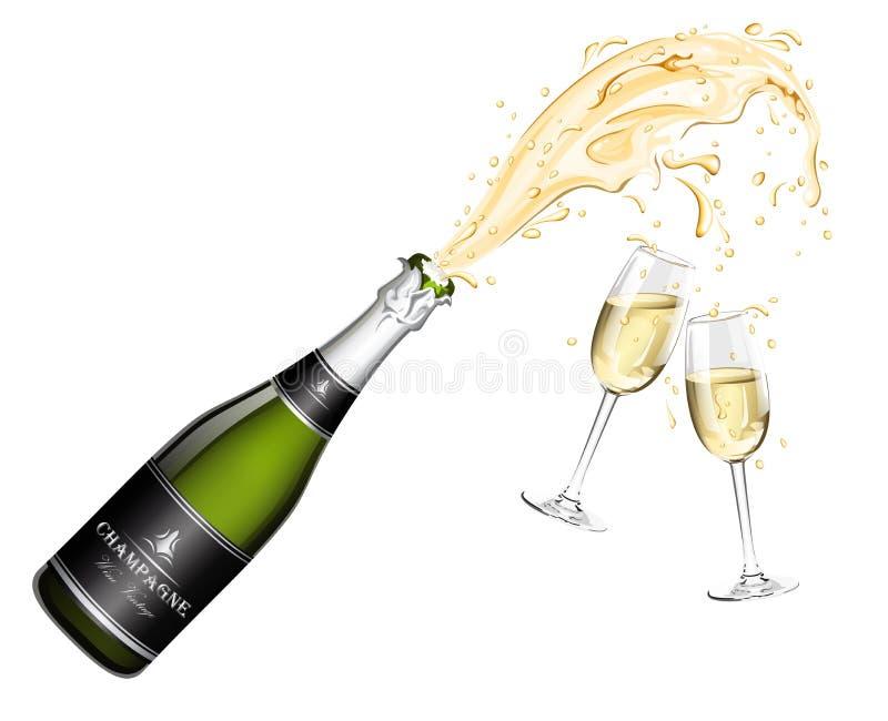 Bottiglia dell'esplosione di Champagne e di due vetri illustrazione di stock