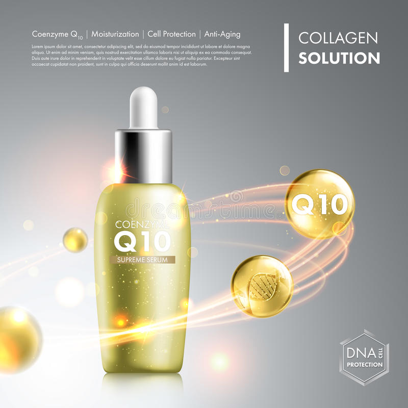 Bottiglia dell'essenza del siero del coenzima Q10 royalty illustrazione gratis