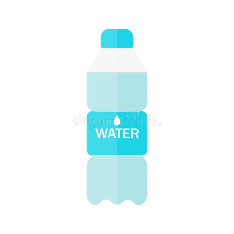 Bottiglia dell'icona dell'acqua nello stile piano isolata su fondo blu Illustrazione di vettore illustrazione di stock