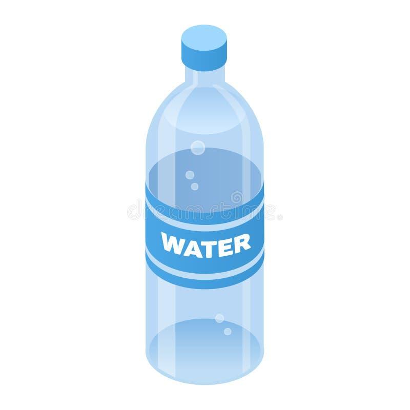 Bottiglia dell'icona isometrica di stile di colore di acqua con il profilo, illustrazione di concetto dell'alimento royalty illustrazione gratis