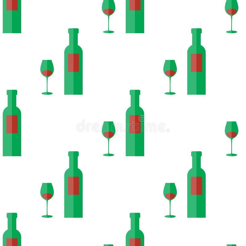 Bottiglia dell'illustrazione senza cuciture di vetro e del vino del modello di vettore su fondo bianco illustrazione di stock