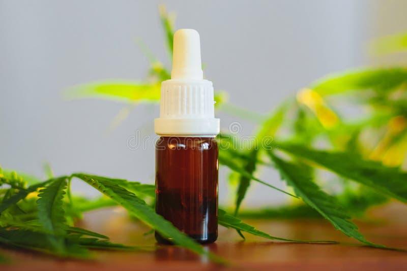 Bottiglia dell'olio di CBD sul fondo della cannabis Cannabis medica con il cbd dell'estratto Canapa Cannabidiol di benessere Prod fotografia stock