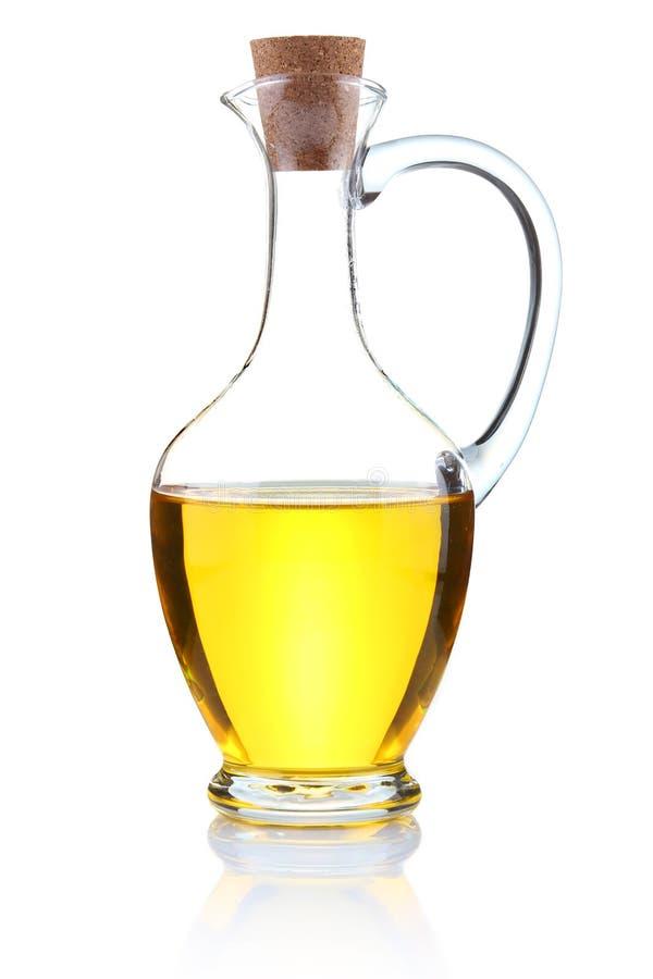 Bottiglia dell'olio di oliva isolata su bianco immagini stock libere da diritti