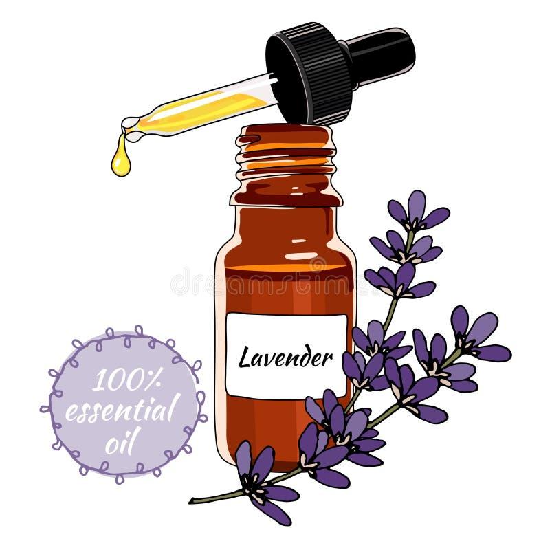 Bottiglia dell'olio essenziale della lavanda con il contagoccia illustrazione vettoriale
