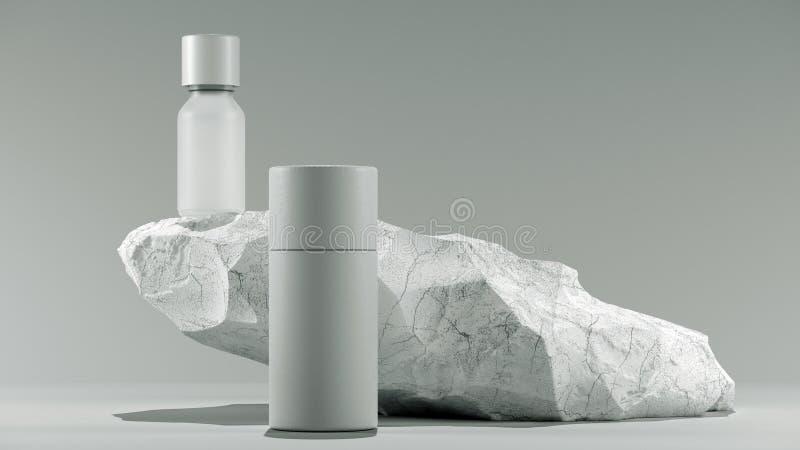 Bottiglia dell'olio essenziale di massaggio su di pietra - trattamento di bellezza Imballaggio bianco minimo di progettazione fal illustrazione vettoriale
