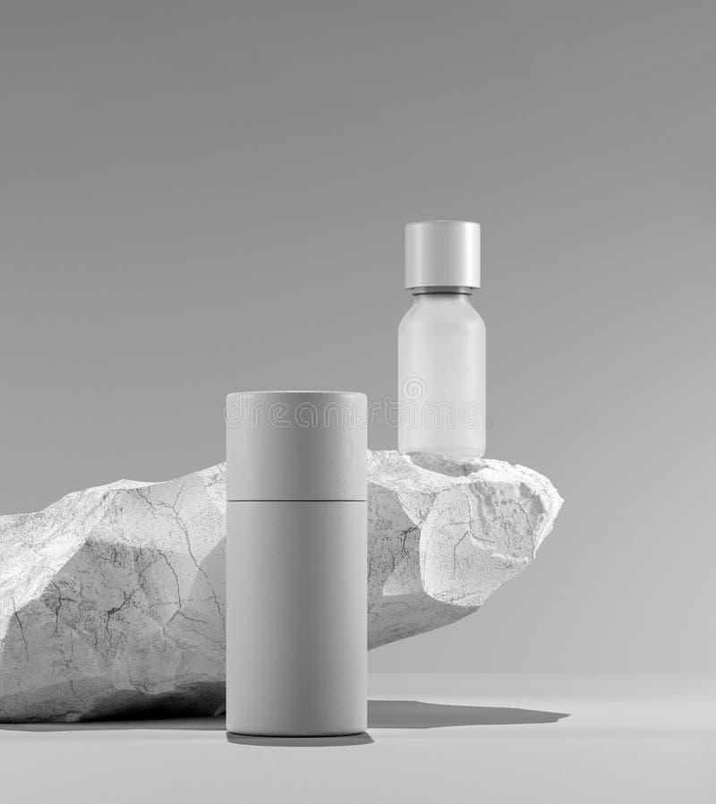 Bottiglia dell'olio essenziale di massaggio su di pietra - trattamento di bellezza Imballaggio bianco minimo di progettazione fal royalty illustrazione gratis