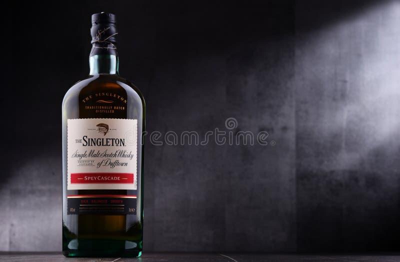Bottiglia dell'unico nato di Dufftown, whiskey scozzese del singolo malto immagine stock libera da diritti