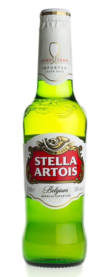 Bottiglia della birra di Stella Artois Lager del belga immagine stock