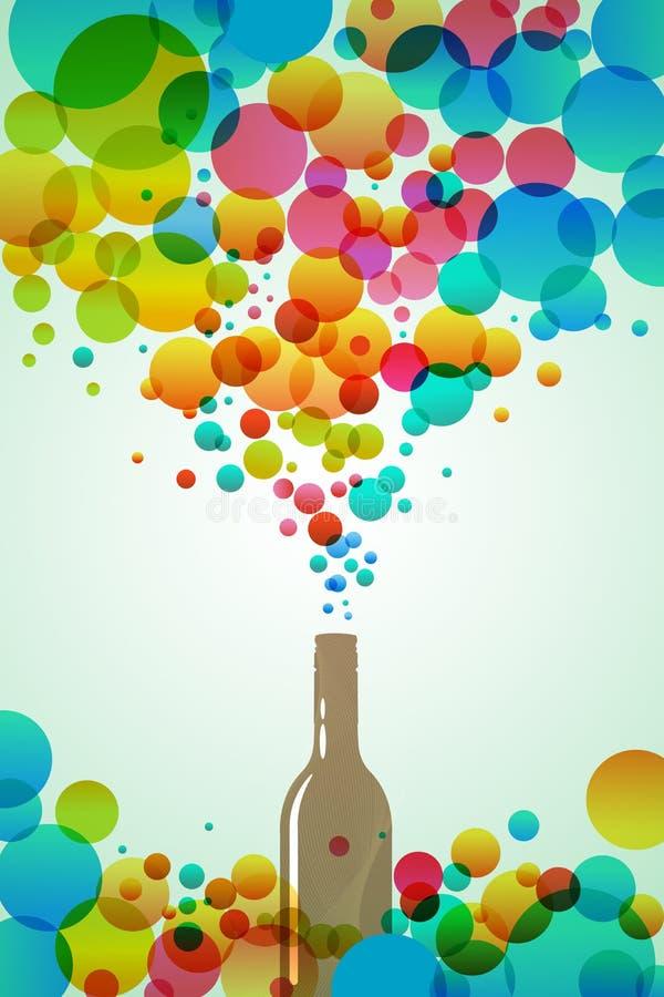 Bottiglia della cola con le bolle variopinte illustrazione vettoriale