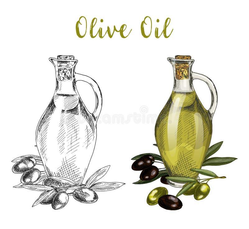 Bottiglia della cristalleria con il liquido dell'olio ed il ramo di albero illustrazione di stock