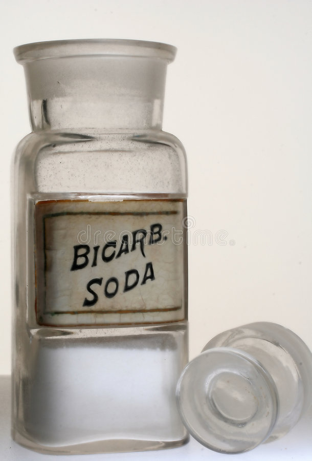 Bottiglia della farmacia di Bicarb.Soda fotografie stock libere da diritti