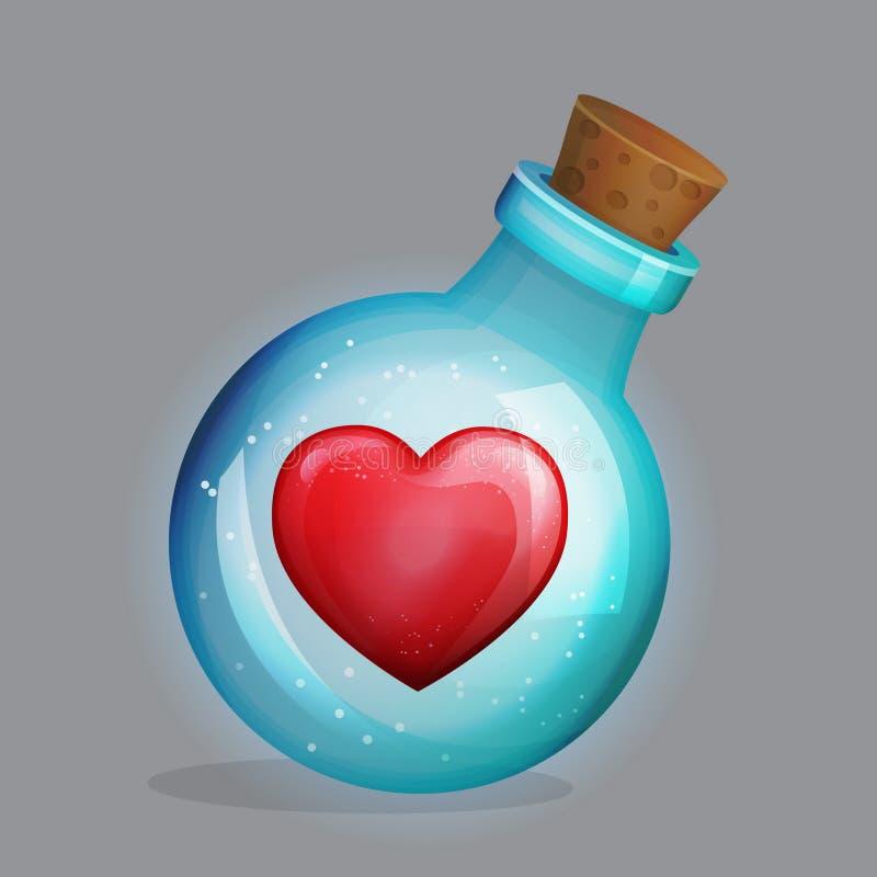 Bottiglia della pozione magica con la decorazione della pozione di amore dentro illustrazione di stock