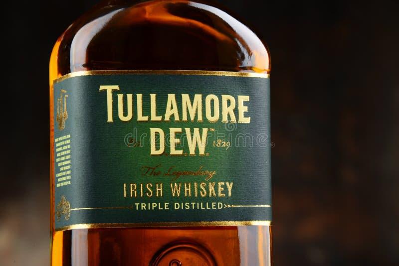 Bottiglia della rugiada di Tullamore, whiskey irlandese fotografia stock libera da diritti