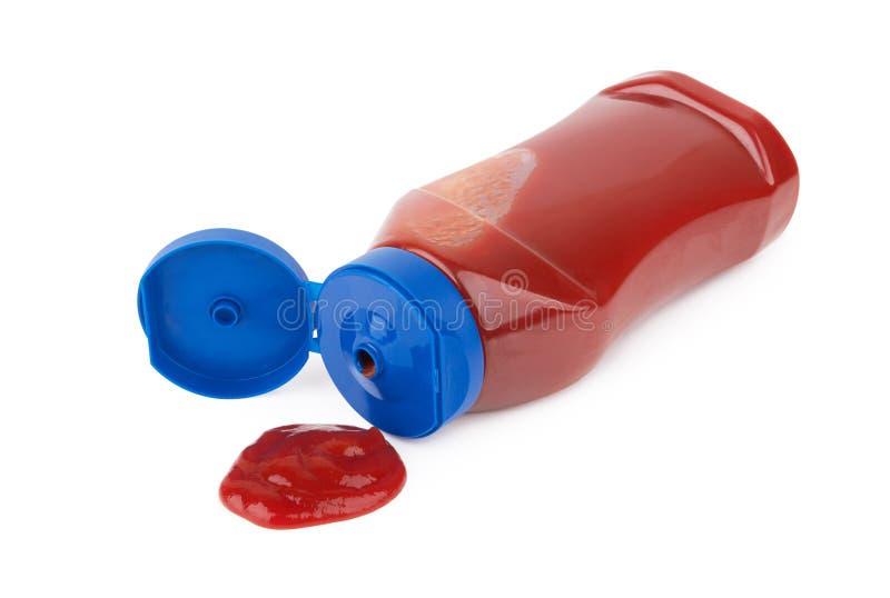 Bottiglia della salsa di pomodori fotografia stock