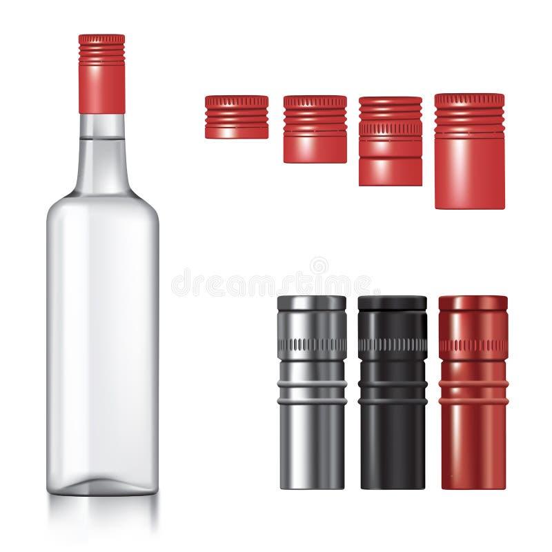 Bottiglia della vodka con i cappucci royalty illustrazione gratis