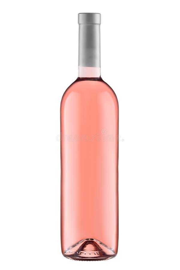 Bottiglia dello spazio in bianco del vino rosato di vista frontale isolata su fondo bianco fotografia stock