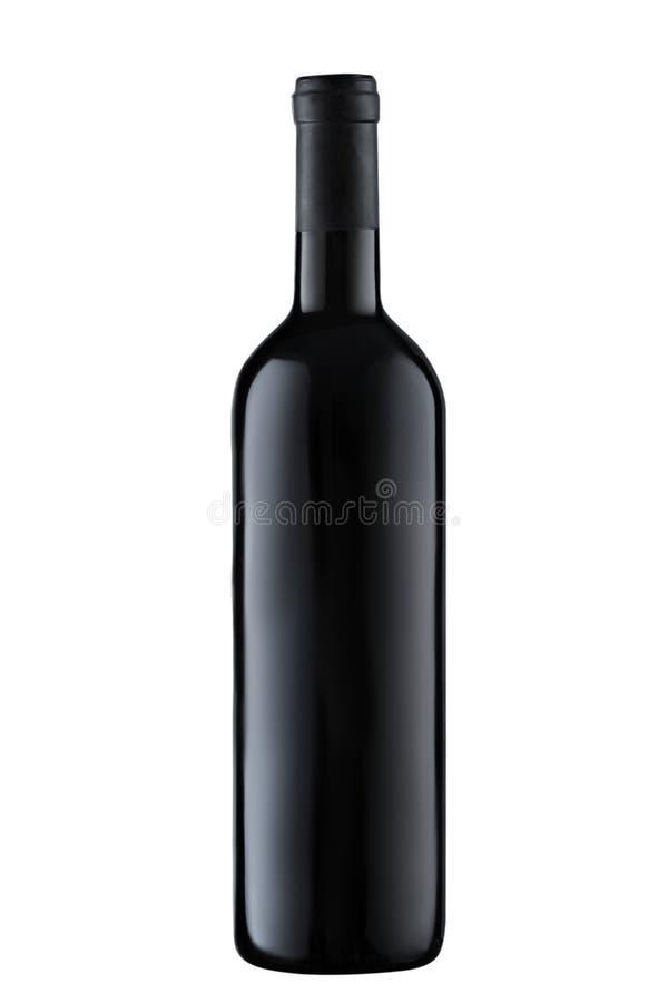 Bottiglia dello spazio in bianco del vino rosso di vista frontale isolata su fondo bianco fotografia stock