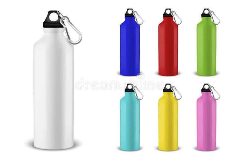Bottiglia di acqua lucida vuota del metallo di colore differente realistico 3d di vettore con il primo piano stabilito dell'icona illustrazione vettoriale