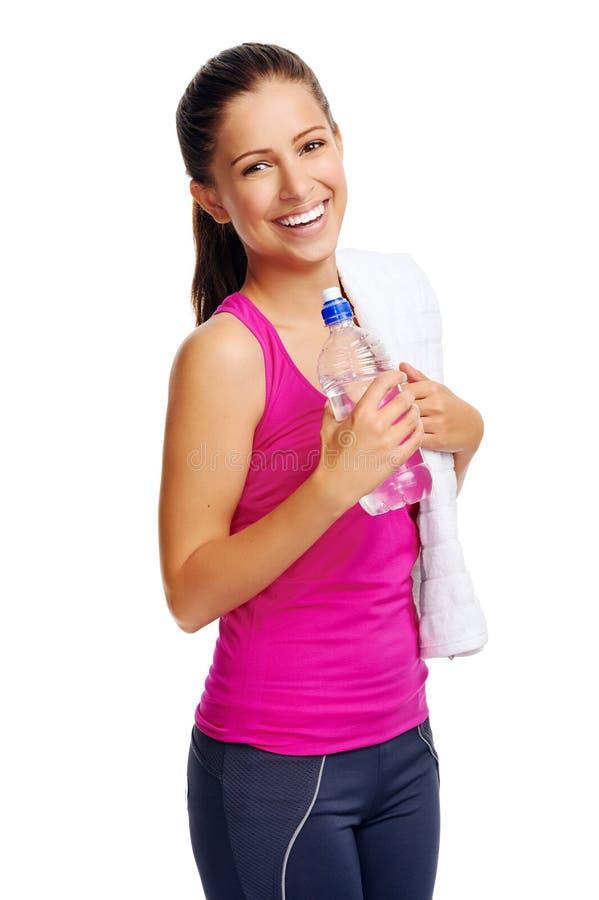 Bottiglia di acqua sana della donna fotografia stock
