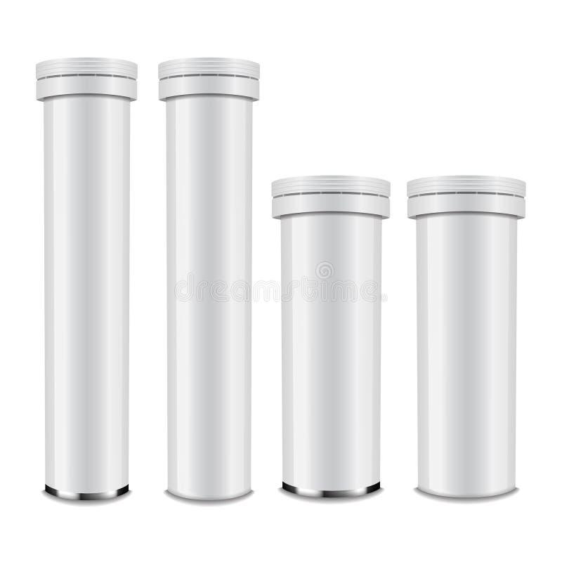 Bottiglia di alluminio lucida bianca realistica con il cappuccio per le compresse del carbonio o effervescenti, pillole, vitamine illustrazione di stock