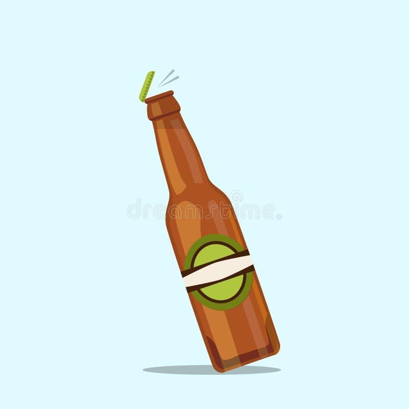 Bottiglia di birra di apertura su un fondo blu illustrazione vettoriale