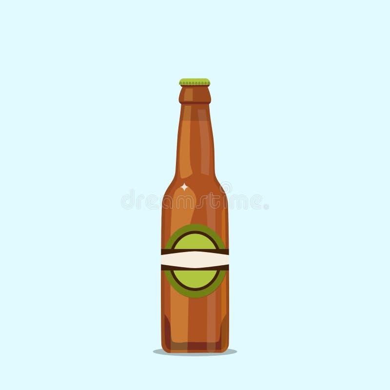 Bottiglia di birra attraente su un fondo blu illustrazione vettoriale