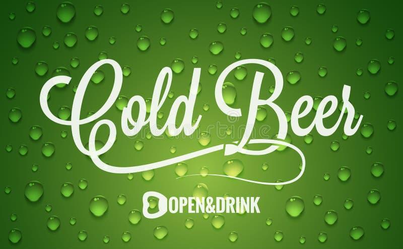 Bottiglia di birra con il fondo di progettazione di logo di gocce di freddo illustrazione vettoriale