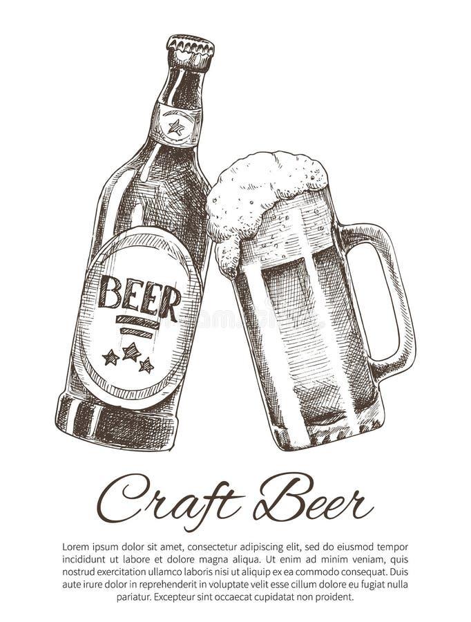 Bottiglia di birra del mestiere e manifesto di vetro di promo con testo royalty illustrazione gratis