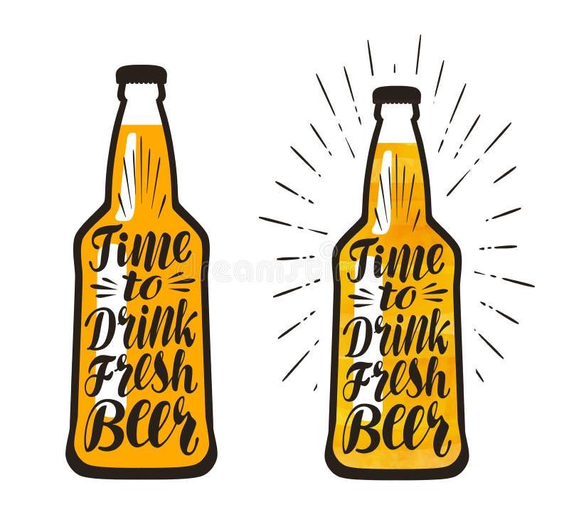 Bottiglia di birra, lager Tempo di bere birra fresca, segnante Illustrazione di vettore illustrazione vettoriale