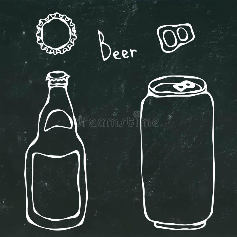 Bottiglia di birra, latta, cappuccio e chiave Isolato su un fondo nero della lavagna Stile realistico del fumetto di scarabocchio illustrazione di stock