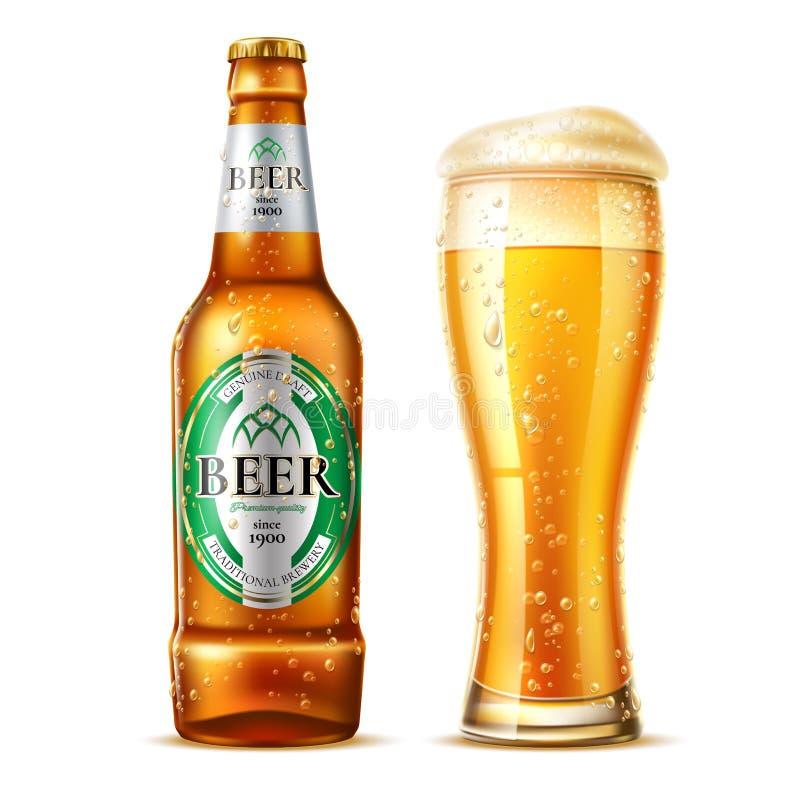 Bottiglia di birra realistica della lager di vetro di birra di vettore illustrazione di stock
