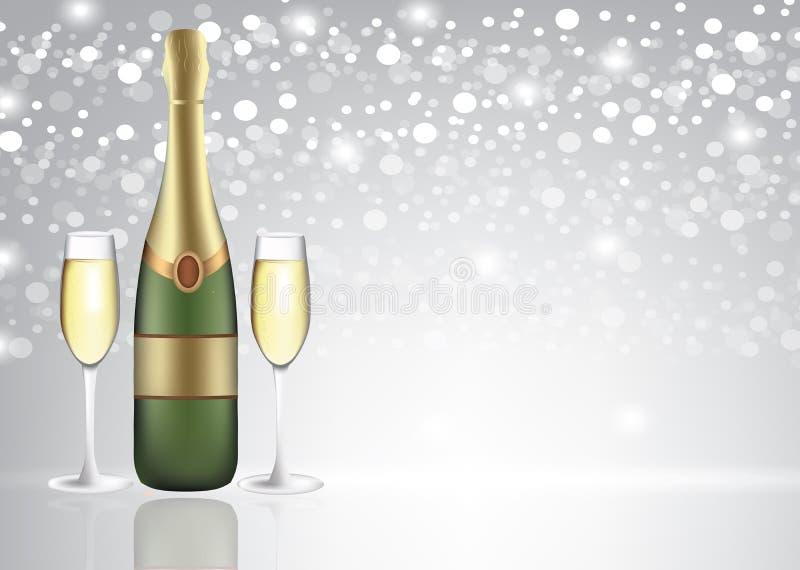 Bottiglia di Champagne con due vetri pieni su fondo vago royalty illustrazione gratis