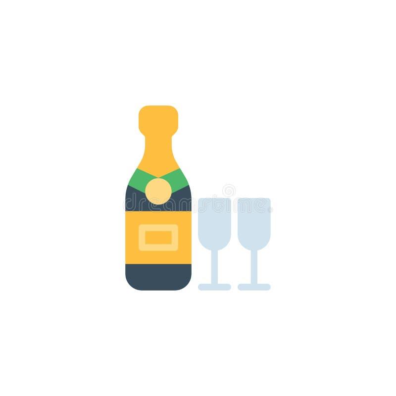 Bottiglia di Champagne con l'icona piana di vetro due illustrazione di stock
