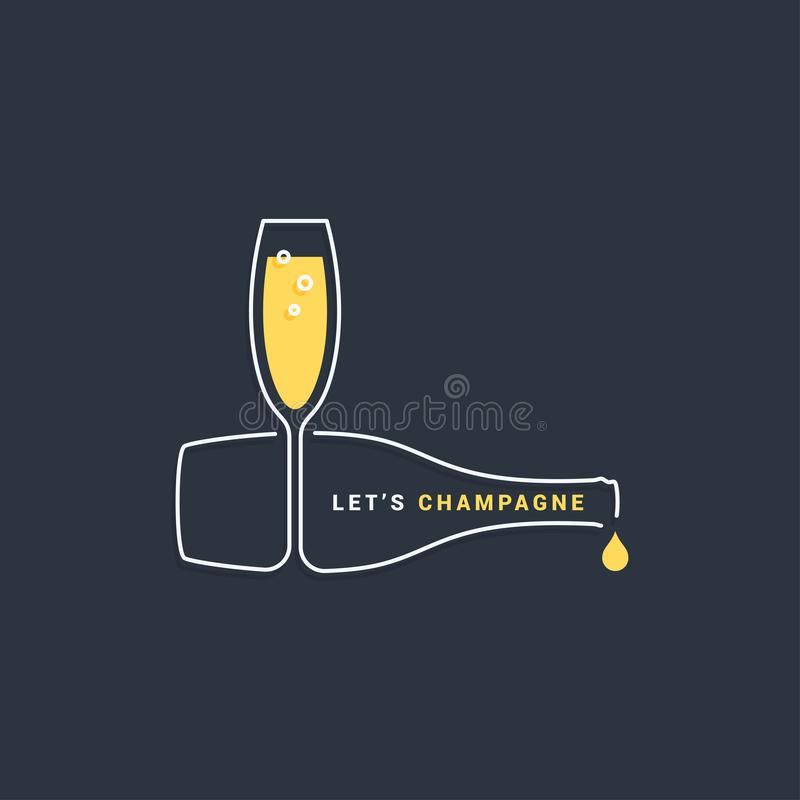 Bottiglia di Champagne con la linea icona di vetro di vino illustrazione di stock
