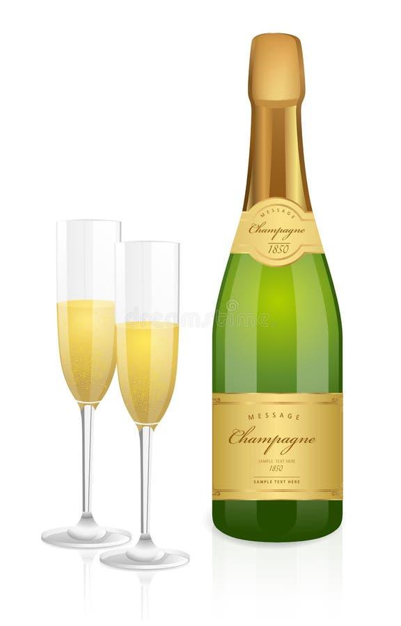Bottiglia di champagne e di due vetri illustrazione di stock