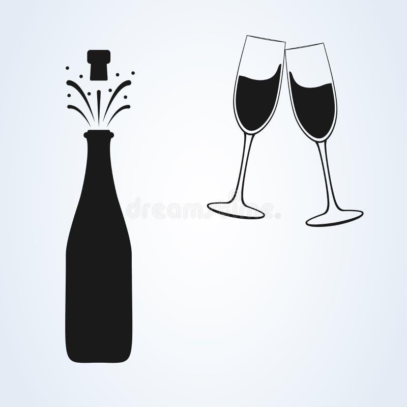 Bottiglia di Champagne e due icone nere della siluetta di vetro Illustrazione minima semplice di vettore illustrazione di stock