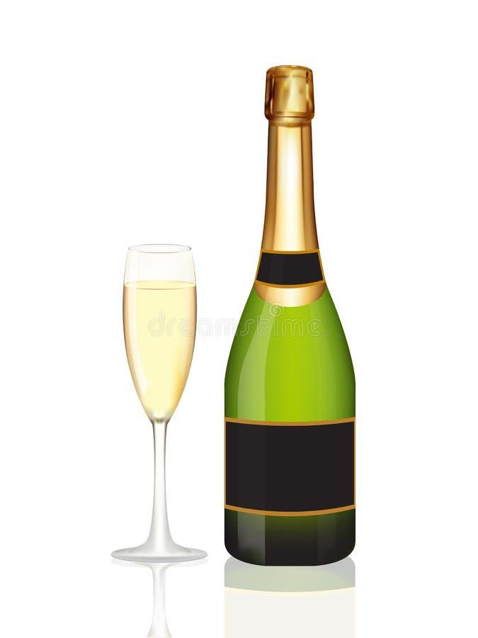 Bottiglia di Champagne e vetro del champagne su bianco illustrazione vettoriale