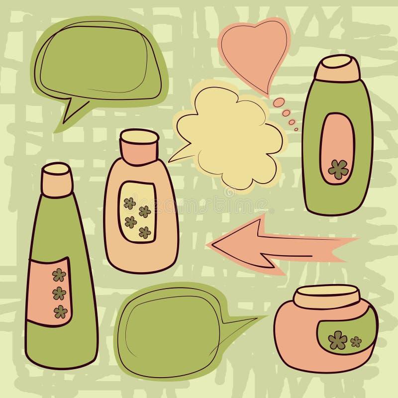 Bottiglia di conversazione dei cosmetici illustrazione di stock
