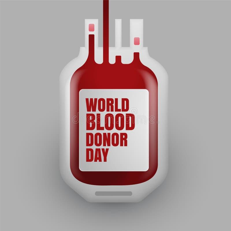 Bottiglia di donazione di sangue per il giorno del donatore di sangue del mondo illustrazione di stock