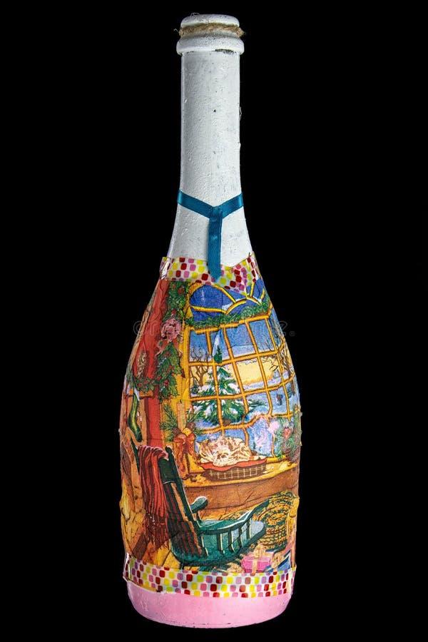 Bottiglia di festa su un fondo nero immagini stock libere da diritti