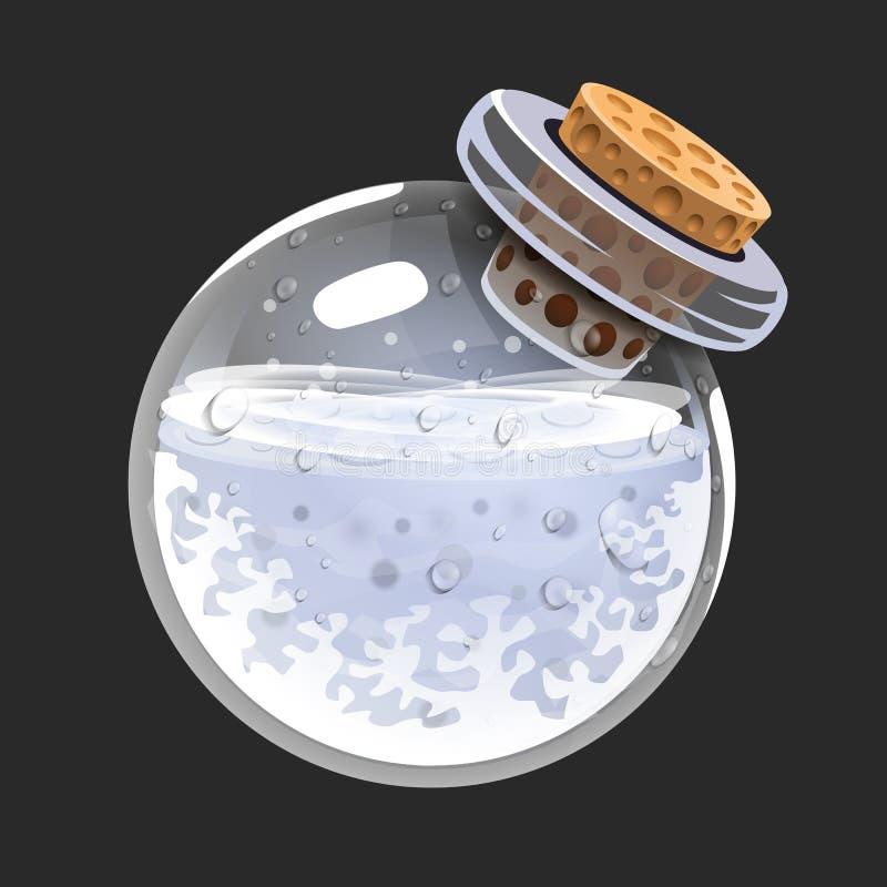 Bottiglia di freddo Icona del gioco di elisir magico Interfaccia per il gioco rpg o match3 Freddo, neve di inverno, gelata Grande royalty illustrazione gratis
