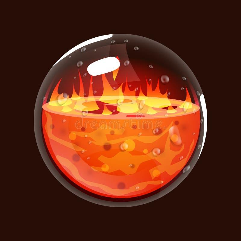 Bottiglia di fuoco Icona del gioco del globo magico Interfaccia per il gioco rpg o match3 Grande variante Fuoco, energia, lava, f illustrazione vettoriale