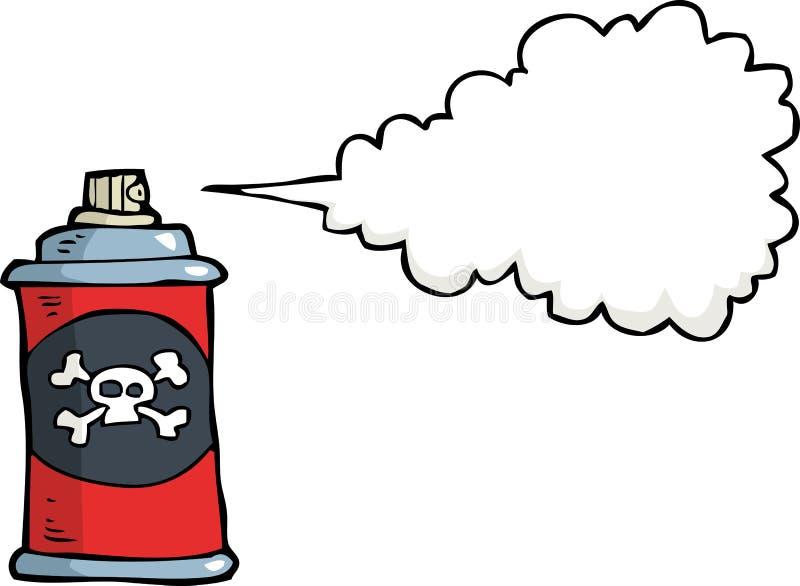 Bottiglia di gas di scarabocchio con veleno illustrazione di stock