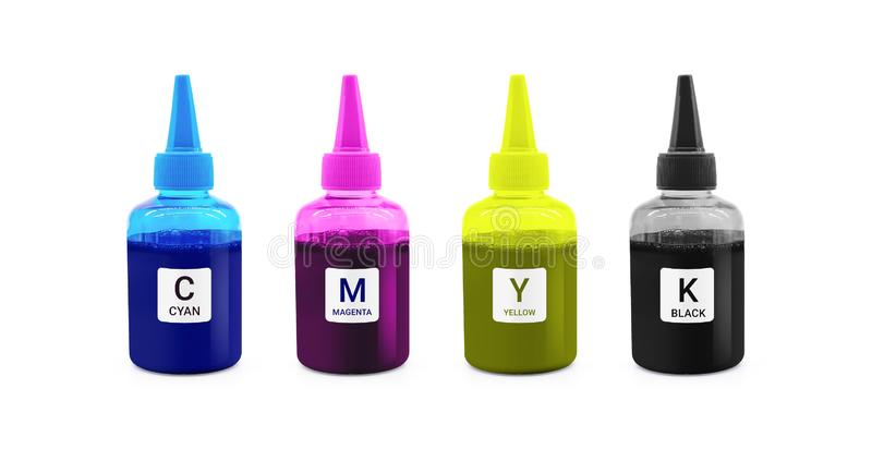 Bottiglia di inchiostro di CMYK per la macchina della stampante su fondo isolato con il percorso di ritaglio fotografia stock