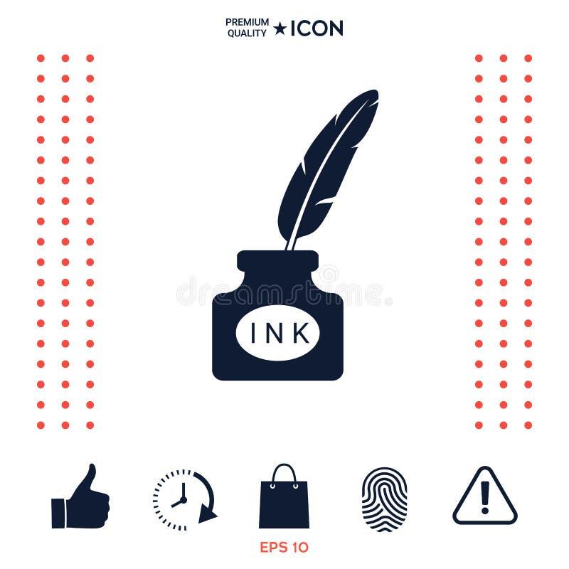 Download Bottiglia Di Inchiostro Con La Piuma - Icona Illustrazione Vettoriale - Illustrazione di profilo, tradizionale: 117975661